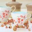 Romantic tea /coffee setting on the table — Stockfoto