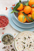 Healthy, vegetarian breakfast on the table — Stockfoto