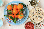 Healthy, vegetarian breakfast on the table — ストック写真