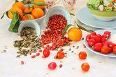 Gesundes, vegetarisches frühstück auf dem tisch — Stockfoto