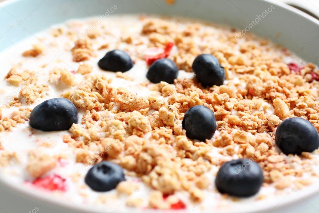 Healthy musil vegetarian breakfast close up  — Stock Photo #19190845