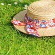 Summer straw hat on the grass — Stock fotografie