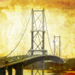 Forth Road Bridge, grungy - Stock Photo