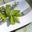 Beautiful , stylish herbal table — Stock Photo