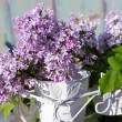 Beautiful , soft lilac in a white vase — 图库照片