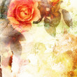 Romantic orange roses background — Stock Photo