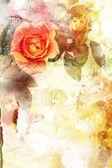 ロマンチックなオレンジ色のバラの背景 — ストック写真