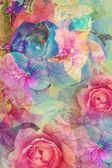 Ročník květinové, romantické pozadí — Stock fotografie
