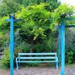 A blue bench  — Foto de Stock