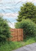 Rural wooden gate on Scottish farm — Stock Photo