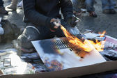 Painter burn painting — Stock Photo