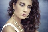 Luxury portrait beautiful girl, curly hair — Stock Photo