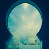 Blue and white islamic mosque — Stock Photo