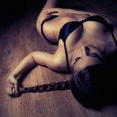 Beautiful girl in black lingerie — Stock Photo