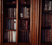 Historic old books in library — Stock Photo