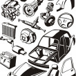 Car parts — Image vectorielle