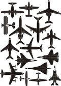 Air plane silhouettes — Stock Vector
