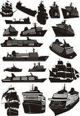 Ship silhouettes — Stock Vector
