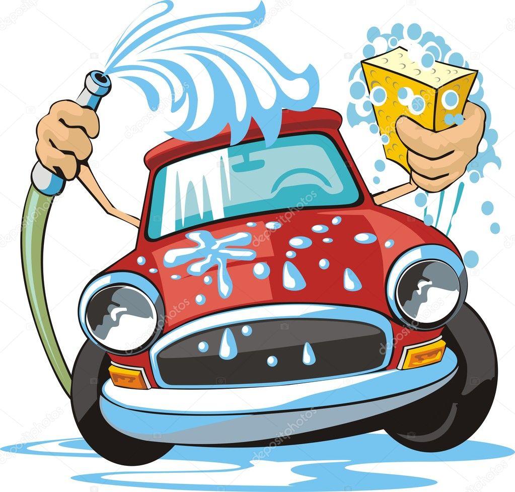 标志与海绵和软管洗车 — 矢量图片作者 kokandr