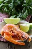 Ready to eat shrimp in a white bowl — Stock Photo