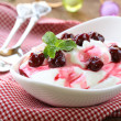 Foto Stock: Dairy dessert with sweet sauce and cherries