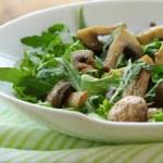Fresh salad with arugula , grilled mushrooms — Stock Photo