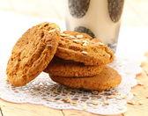 Biscoitos cookies de aveia e um copo de leite — Foto Stock