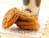 Oat cookies biscuits and a glass of milk — Foto Stock