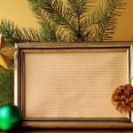 Gold frame and Christmas decorations (Christmas tree and balls) — Stock Photo #13563178