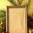 Royalty-Free Stock Photo: Gold frame and Christmas decorations (Christmas tree and balls)