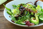 Salad mix with avocado and cucumber, with balsamic dressing — Fotografia Stock