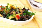 Salad of fried eggplant in Asian style — Stock Photo