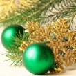 Christmas tree with decorations on  white background - Stock Photo