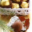Chocolate truffles in a gift box under the Christmas tree — Stock Photo #14066615