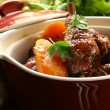 Stock Photo: Traditional French cuisine - chicken in wine, coq au vin