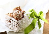 Christmas cookies with white chocolate in a gift box — Stock Photo