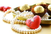 Box of chocolates and pearl, gift for Valentine's Day — Stok fotoğraf
