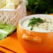Stock Photo: Cream soup of cauliflower with black pepper and parsley