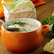 Cream soup of cauliflower with black pepper and parsley — Stock Photo #14746601