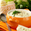 Cream soup of cauliflower with black pepper and parsley — Stock Photo #14810805