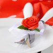 Romantic and elegant table setting, valentines day — Stock Photo