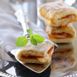 Puff pastry with jam on a silver tray - Stock Photo