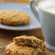 Oat cookies biscuits and cup of milk — Stock Photo #15711359