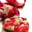 Jelly hearts with flowers and ribbons, sweet Valentines Day — Stock Photo
