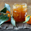 Orange mandarin homemade jam marmelade in a glass jar — Stock Photo #17131883