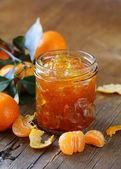 Orange mandarin homemade jam marmelade in a glass jar — Stock Photo