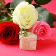 Stock Photo: Fresh roses and gifts for holiday Valentines Day