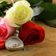 Fresh roses and gifts for the holiday Valentines Day — Stock Photo #17875083