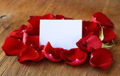 Petals of a red rose and a card for recording — Stock Photo