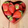 Stock Photo: Fresh strawberries in heart shaped box